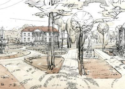 Architekturskizze im Siniavino Dorf (Kaliningrad Gebiet)